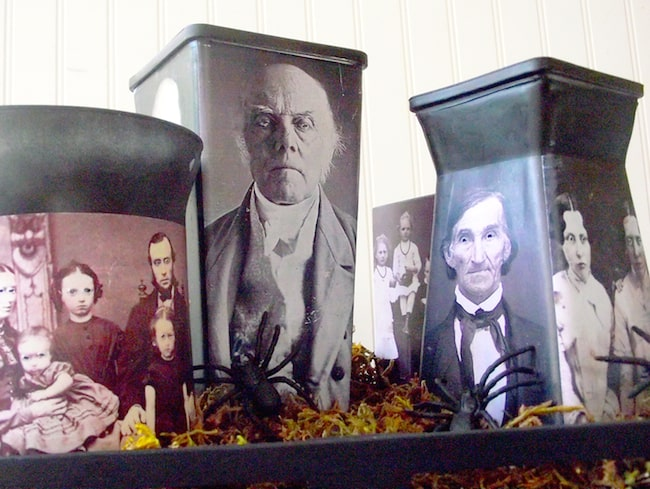 Simple Halloween decor using vintage photos and Mod Podge
