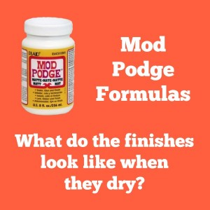 Are you curious what the Mod Podge formulas look like when they are dry? Click through for this handy dandy guide! Very informative!