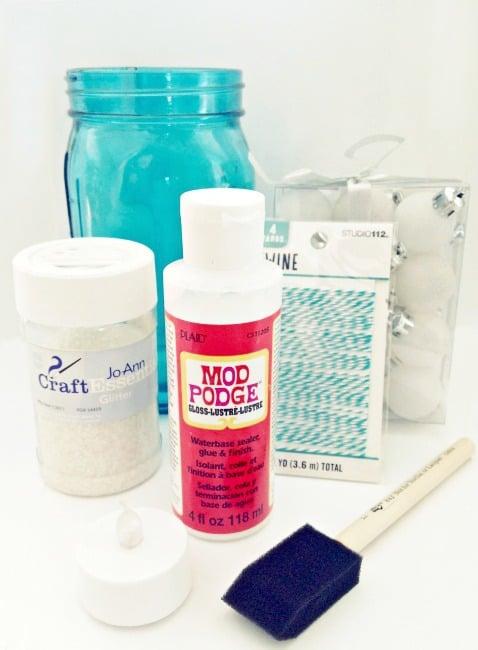 Blue mason jar, Mod Podge, chunky glitter, foam brush