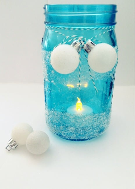 Frosted blue mason jar for winter