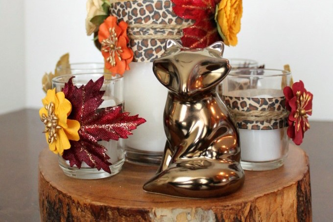 Here's an idea for a woodland inspired DIY centerpiece that you could also whip up if you're hosting a Thanksgiving get-together.
