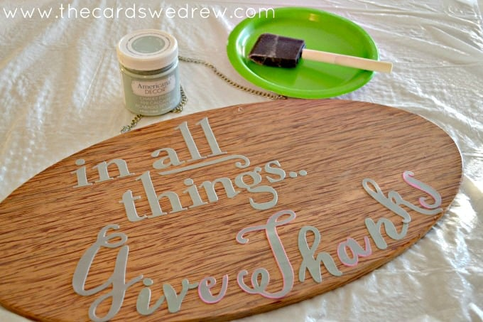 In All Things Give THanks stenciled sign