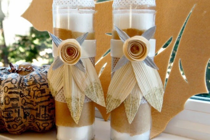 These inexpensive Thanksgiving candles would make great holiday table decor - and are also perfect for hostess gifts!