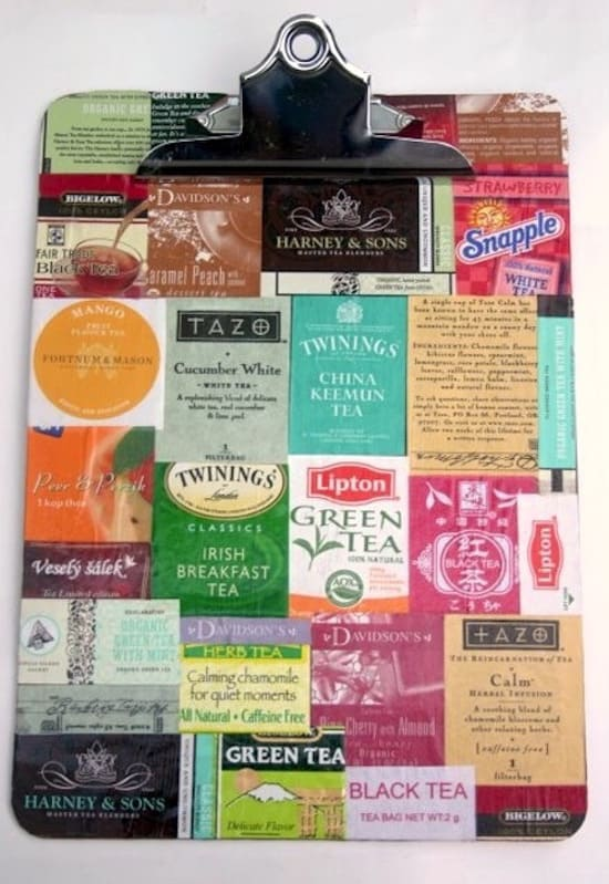 Decorate a Clipboard with Teabags