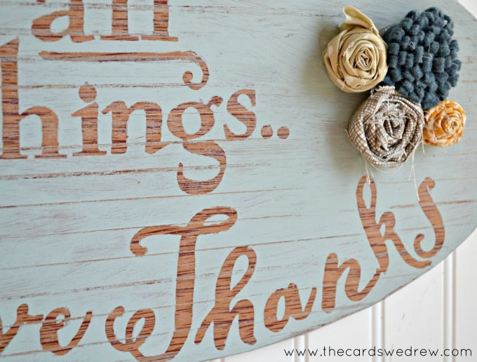 Abbey shows you how to make this gorgeous, distressed give thanks sign for Thanksgiving using washi tape, chalk paint, and Mod Podge!