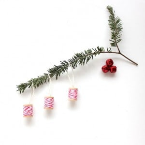 Baker's Twine Wrapped Christmas Ornaments