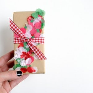 diy confetti christmas gift wrap the eas
