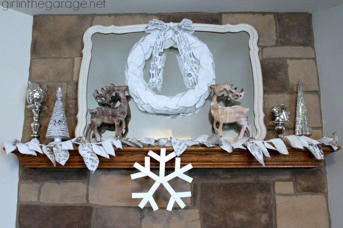 This sparkling snowflake craft sets off a wintery wonderland mantel - use thin wood and Mod Podge with glitter to make it!