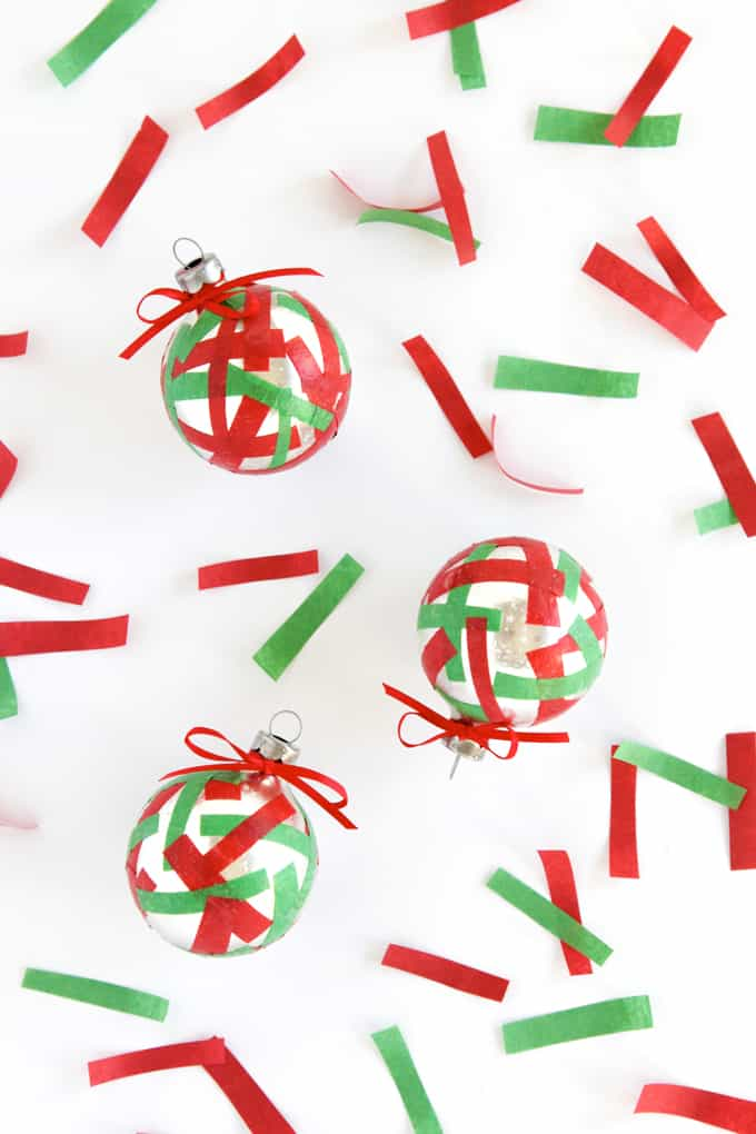 These confetti-inspired DIY Christmas ornaments pack a visual punch and are easy enough that kids and adults alike can make them.