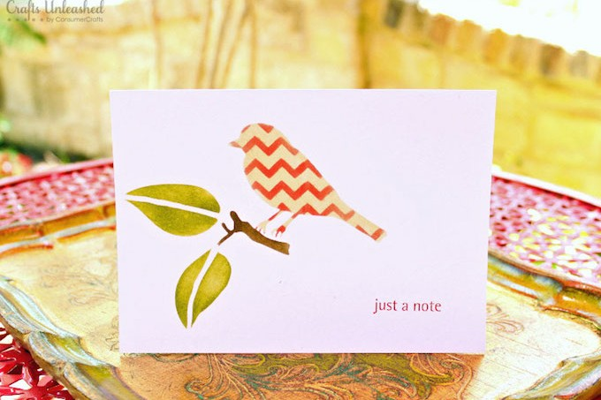 Card set stenciled with Mod Podge Rocks adhesive stencils