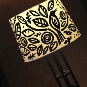 Whimsical paper Mod Podge lamp shade