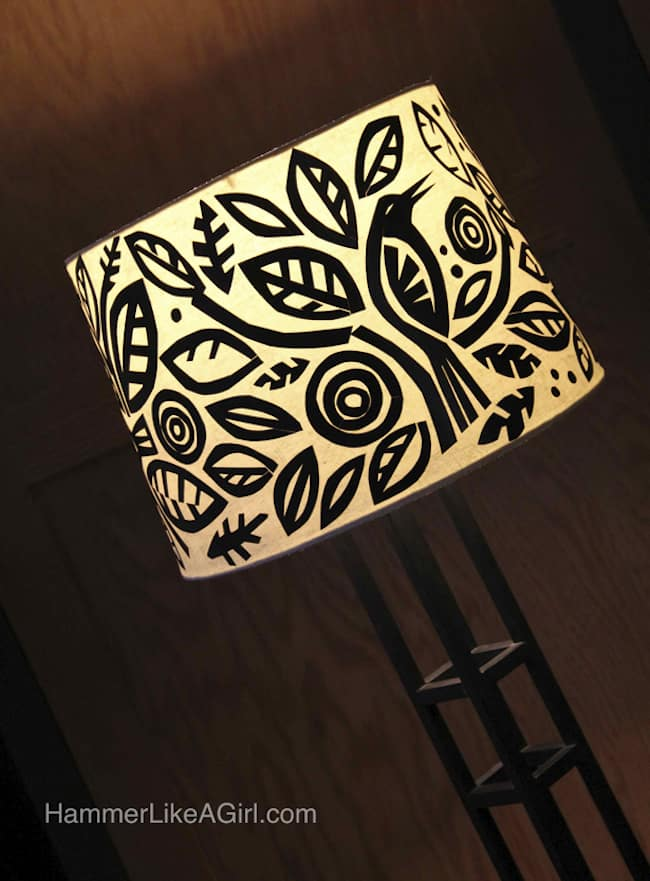 This Mod Podge lamp shade is an easy-to-do decoupage project involving cut black paper and your favorite shapes. Get the tutorial here!