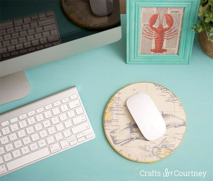 Make your own mouse pad with scrapbook paper and cork