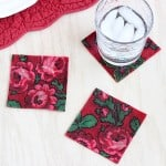 Decoupage with vintage fabric – DIY coasters