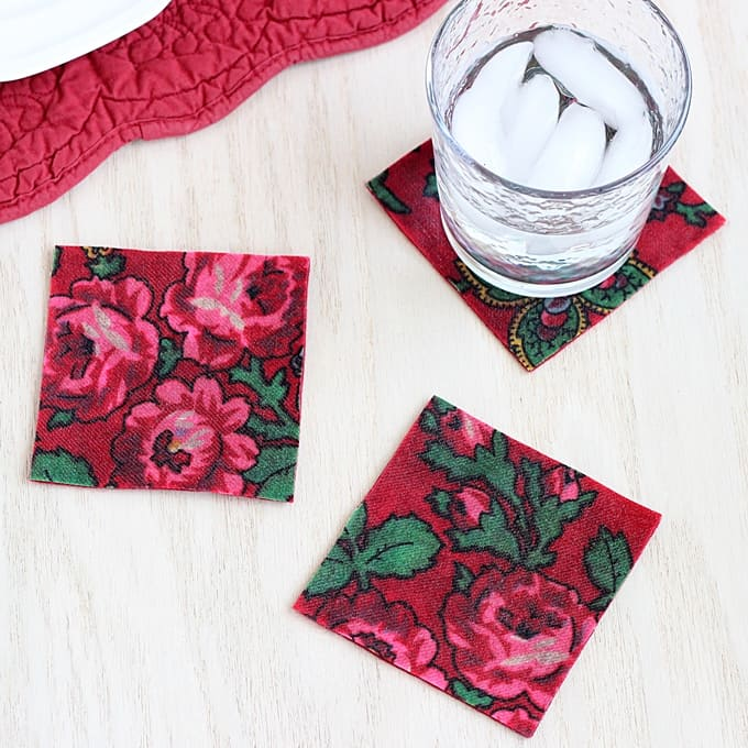 Simple DIY decoupage felt and fabric coasters