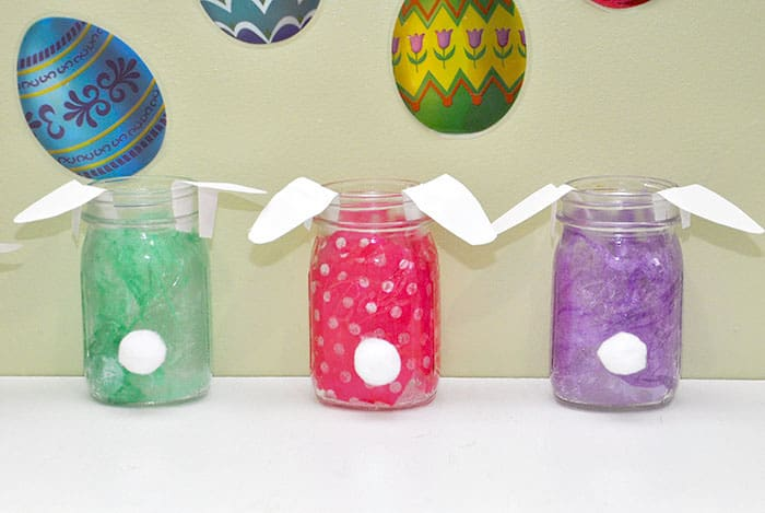 If you're looking for a sweet table or shelf decoration, these Easter mason jars are perfect. These bunnies can also hold candy and make good gifts!
