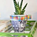 This Mod Podge DIY flower pot is a great Mother's Day gift for moms and grandparents alike - and would also make a great table centerpiece!