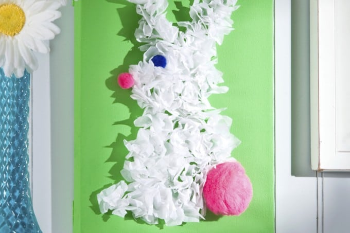 This cute bunny canvas can be made with any paint color, and is perfect for using up leftover tissue paper. It's a perfect Easter craft for kids!
