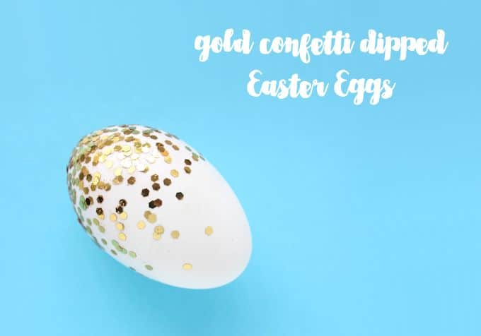 Cover plaster Easter eggs (or real ones!) with confetti and Mod Podge. This fun Easter craft is blingy and makes great decor!