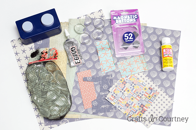 Clear glass marbles, Mod Podge, E-6000, magnets, and scrapbook paper