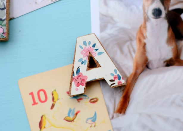 Use cool cork letters and scraps of pretty vintage wallpaper to make these fun DIY magnets - they make such great, personalized gifts!
