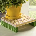 Decoupage a plant stand for spring