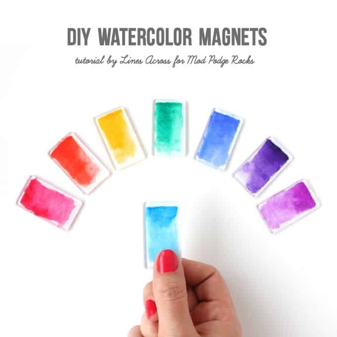 Watercolor brushstroke diy magnets mod podge rocks for How to make simple things out of paper