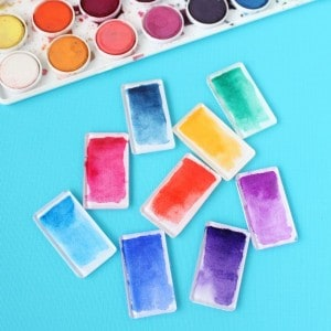 Watercolor brushstroke DIY magnets
