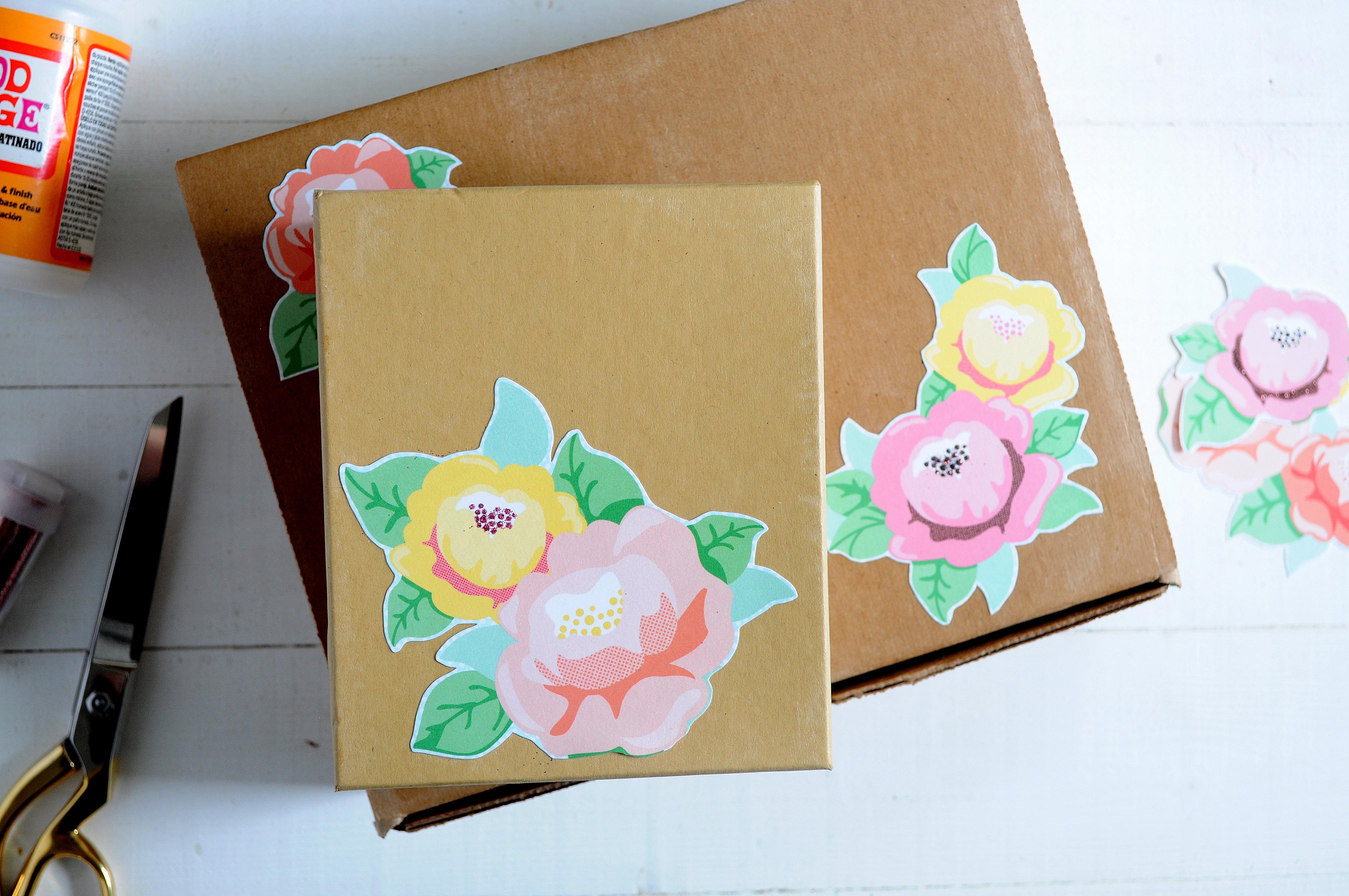 Floral embellished DIY gift boxMod Podge Rocks
