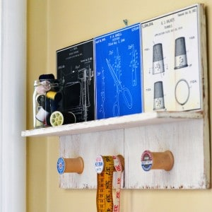 Vintage sewing DIY wall shelf out of scr...
