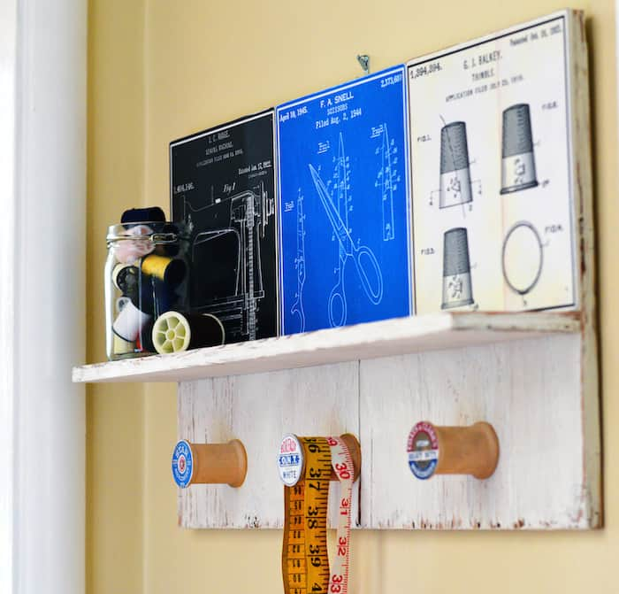 Use what you've got! This vintage inspired DIY wall shelf uses wood scraps I already had and sewing art to make a cool display.