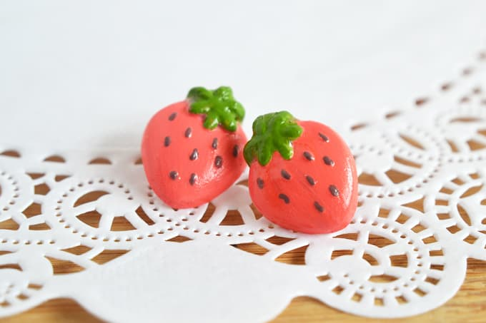 strawberry clay earrings