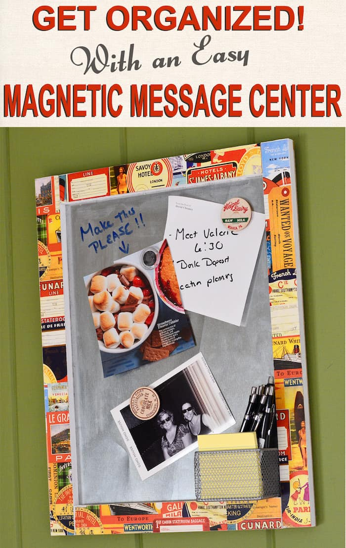 Use simple items from the hardware store to create this personalized magnetic memo board. Use it for inspiration and as a message center!
