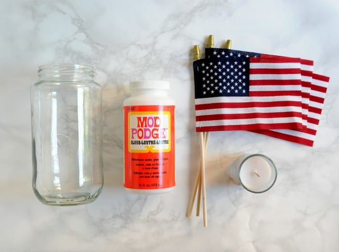 DIY lanterns supplies - glass jar, Mod Podge, American flag