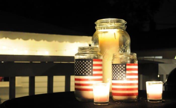 Easy American Flag Mason Jar Lanterns