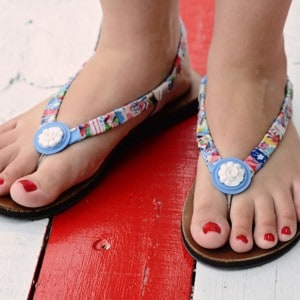 Scrap fabric wrapped summer DIY sandals