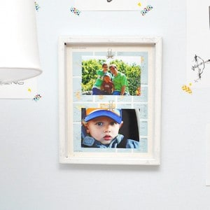 I wanted to create a photo frame where switching out photos would be simple and easy. This map craft gives you that perfect interchangeable background.