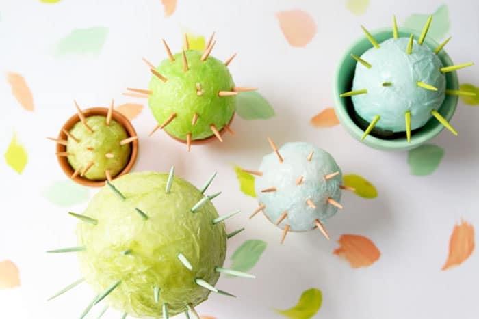 Succulents and cacti are all the rage right now, why not let the kids make some that require no maintenance? This one is a perfect summer craft for kids.