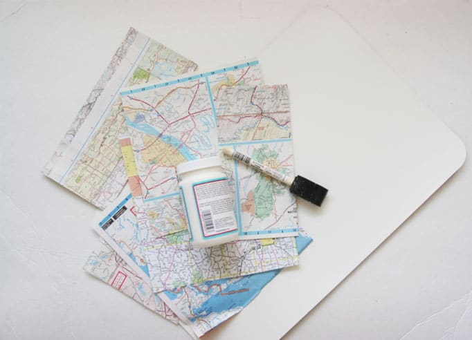 Decoupage placemats from maps