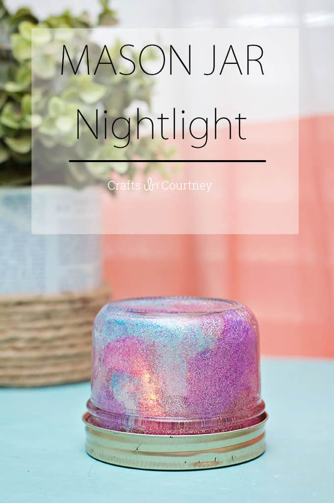This DIY mason jar night light can be made on a budget - and your kids can help. The glitter is so sparkly and fun for night time!