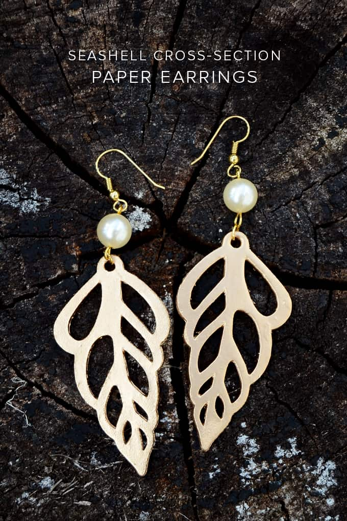 Paper Earrings that Look Like Seashells