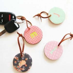 Glossy monogrammed key chains