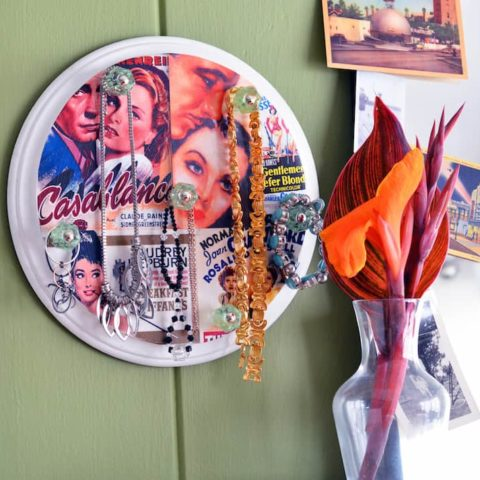 Make a small DIY jewelry holder you can display on your wall and easily grab-and-go in the morning. Personalize with any images you like!