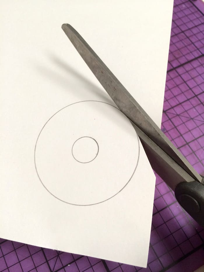 Cut the traced out washer shape using scissors