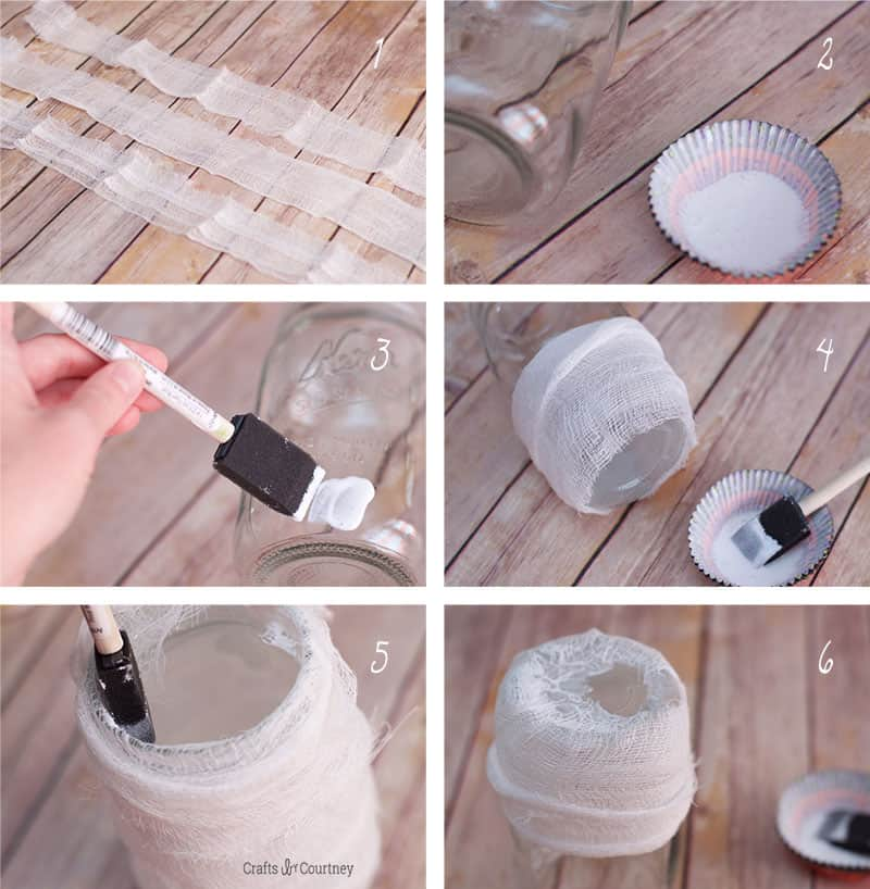 Wrapping cheesecloth to create mummy mason jars