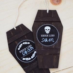 Chalkboard coffin lid Halloween gift tag...