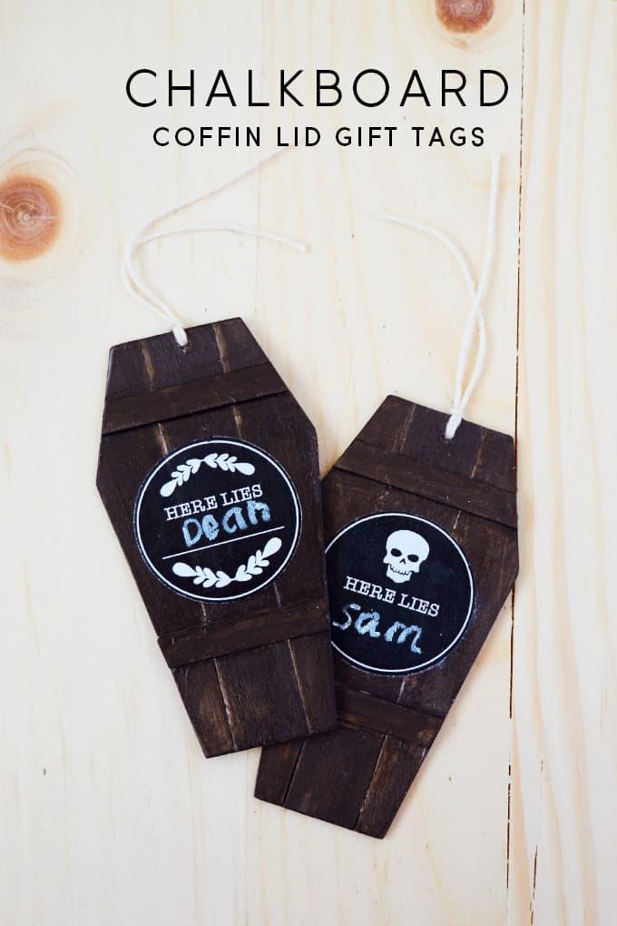 Chalkboard Coffin Lid Halloween Gift Tags