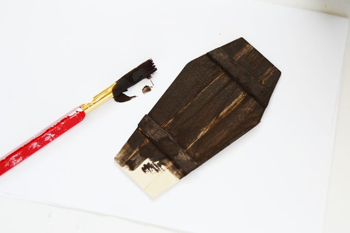 Paint the Halloween gift tags with watered down brown paint