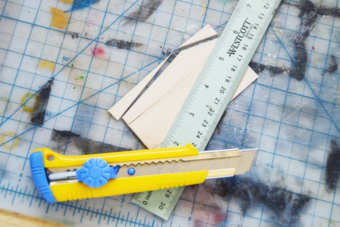 Cut the coffin shape with a box cutter