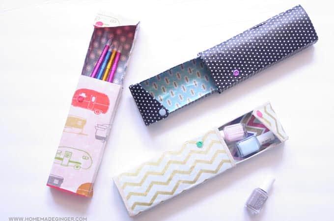 Fabric covered DIY pencil case - Mod Podge Rocks